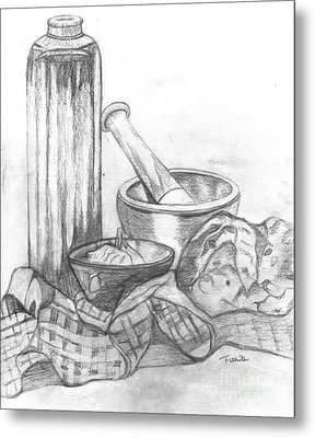 Metal Print featuring the drawing Preparing Starter Course by Teresa White