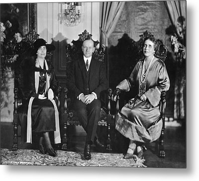 President And Mrs. Coolidge Metal Print by Underwood Archives