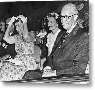 President And Mrs. Eisenhower Metal Print by Underwood Archives