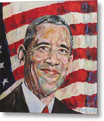 President Barack Obama Portrait Metal Print by Robert Yaeger
