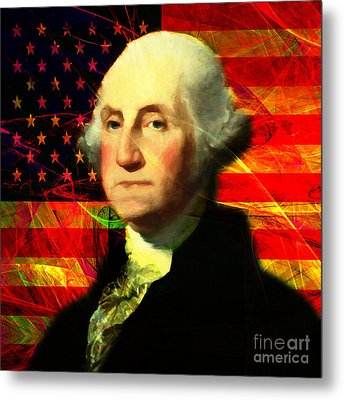 President George Washington V2 M20 Square Metal Print by Wingsdomain Art and Photography