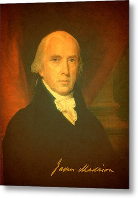 President James Madison Portrait And Signature Metal Print by Design Turnpike