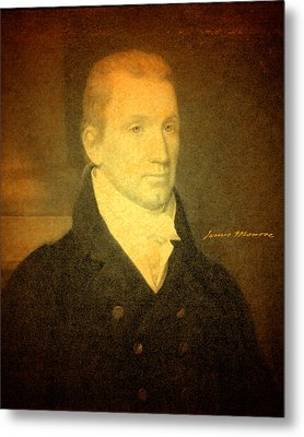 President James Monroe Portrait And Signature Metal Print by Design Turnpike