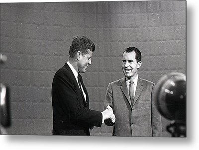 President John Kennedy And President Richard Nixon In The 1960 Debate Metal Print by Retro Images Archive