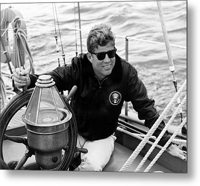 President John Kennedy Sailing Metal Print by War Is Hell Store