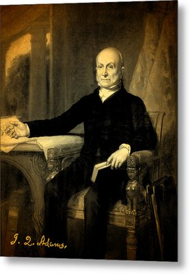 President John Quincy Adams Portrait And Signature Metal Print by Design Turnpike