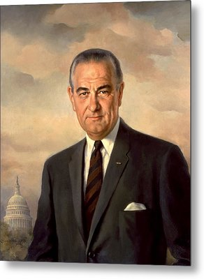 President Lyndon Johnson Painting Metal Print by War Is Hell Store