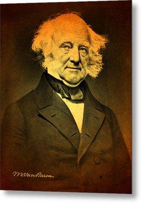 President Martin Van Buren Portrait And Signature Metal Print by Design Turnpike
