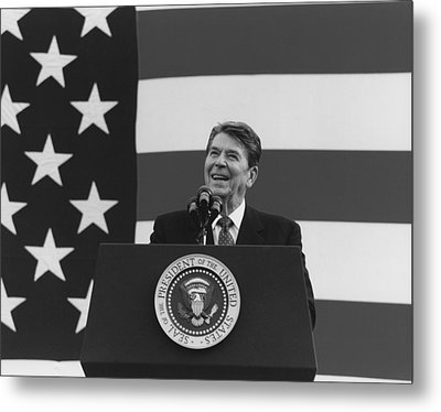 President Reagan American Flag  Metal Print by War Is Hell Store