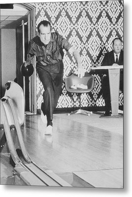 President Richard Nixon Bowling At The White House Metal Print by War Is Hell Store