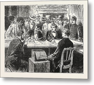 Presidential Election, Counting The Votes, Engraving 1876 Metal Print by American School