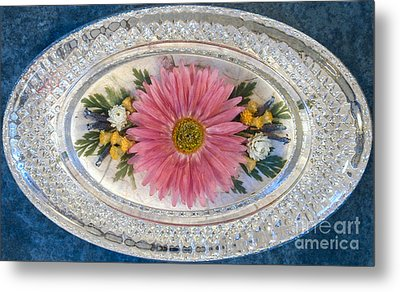 Pressed And Dried Flower Paperweight Metal Print