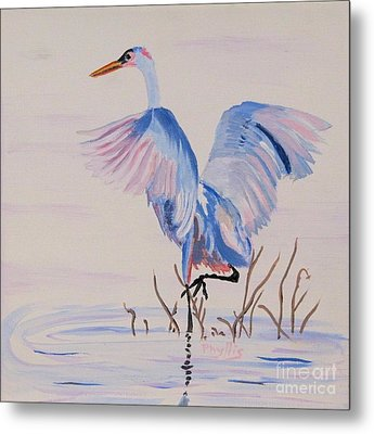 Metal Print featuring the painting Pretty Crane by Phyllis Kaltenbach
