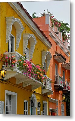 Pretty Dwellings In Old-town Cartagena Metal Print