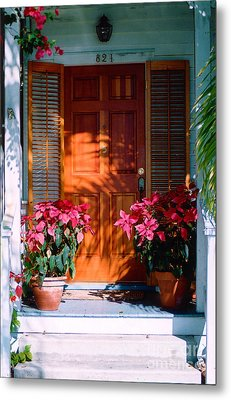 Pretty House Door In Key West Metal Print by Susanne Van Hulst