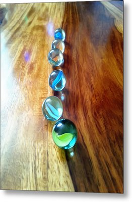 Pretty Marbles All In A Row Metal Print