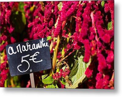 Price Tag On Amaranth Flowers Metal Print