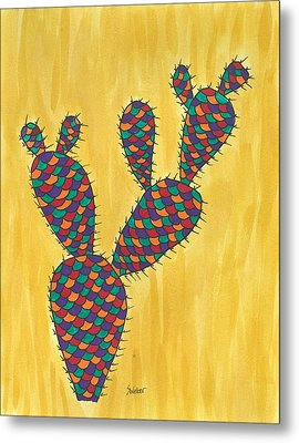 Prickly Pear Cactus Paradise Metal Print