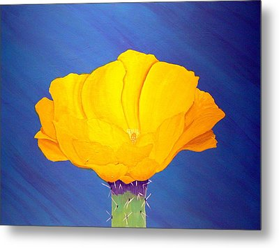 Prickly Pear Flower Metal Print by Karyn Robinson