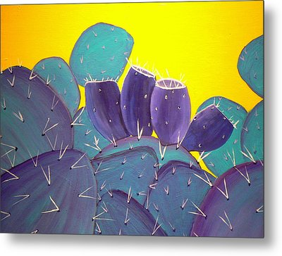 Prickly Pear With Fruit Metal Print by Karyn Robinson
