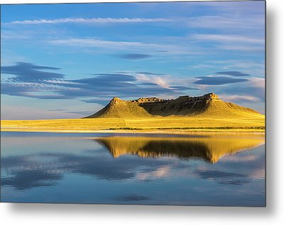 Priest Butte Reflects Into Wetlands Metal Print by Chuck Haney
