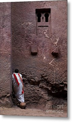 Priest Praying Outside Church In Lalibela Ethiopia Metal Print