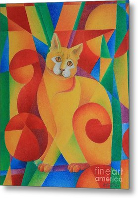 Metal Print featuring the painting Primary Cat II by Pamela Clements