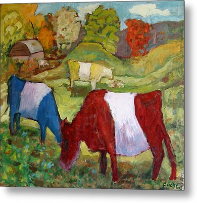 Primary Cows Metal Print