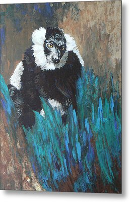 Metal Print featuring the painting Primate Of The Madagascan Rainforest by Margaret Saheed