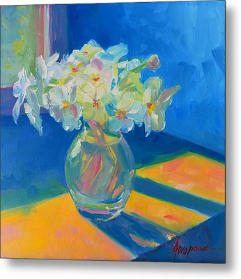 Primroses In Spring Light - Still Life Metal Print by Patricia Awapara