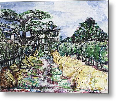 Metal Print featuring the painting Prince Charles Gardens by Helena Bebirian