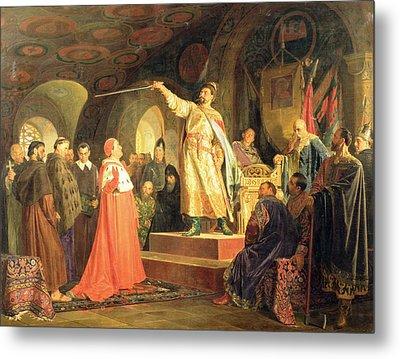 Prince Roman Of Halych-volhynia Receiving The Ambassadors Of Pope Innocent IIi, 1875 Oil On Canvas Metal Print by Nikolai Vasilievich Nevrev