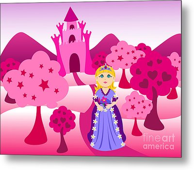 Princess And Pink Castle Landscape Metal Print by Sylvie Bouchard
