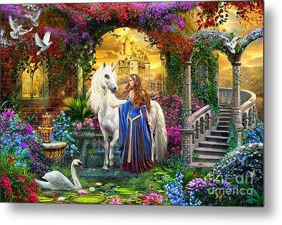 Princess And Unicorn In The Cloisters Metal Print by Jan Patrik Krasny