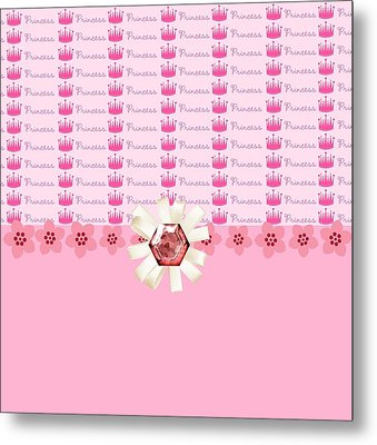 Princess Pink Crowns Metal Print