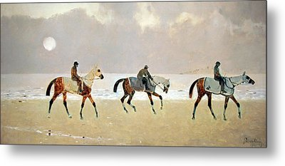 Princeteau's Riders On The Beach At Dieppe Metal Print