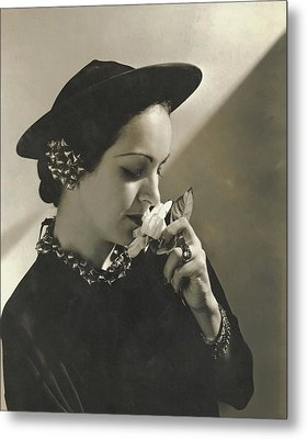 Priscilla Lawson Wearing A Lilly Dache Hat Metal Print