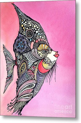 Metal Print featuring the painting Priscilla The Fish by Iya Carson