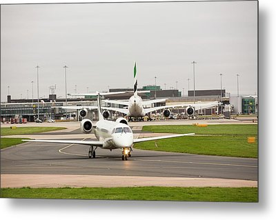 Private Jet At Manchester Airport Metal Print by Ashley Cooper