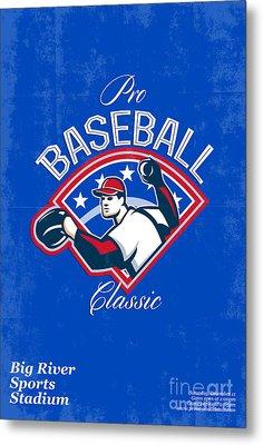 Pro Baseball Classic Tournament Retro Poster Metal Print by Aloysius Patrimonio