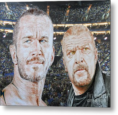 Pro Wrestling Superstars Randy Orton And Triple H Metal Print by Jim Fitzpatrick