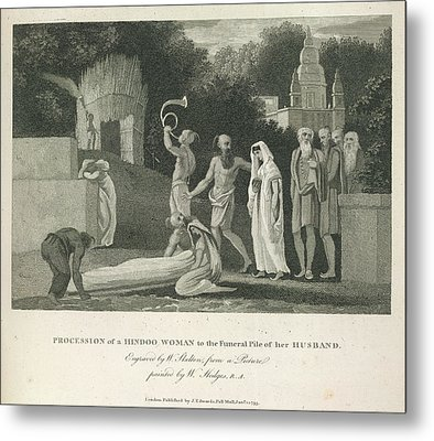 Procession Of A Hindoo Woman Metal Print by British Library