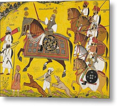 Processional Portrait Of Prince Bhawani Sing Of Sitamau Metal Print by Pyara Singh