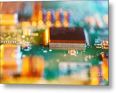 Processor Chip On Circuit Board Metal Print by Konstantin Sutyagin