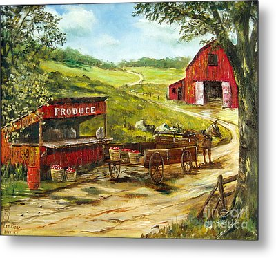 Metal Print featuring the painting Produce Stand by Lee Piper