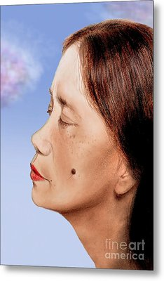 Profile Of A Filipina Beauty With A Mole On Her Cheek Altered Version Metal Print