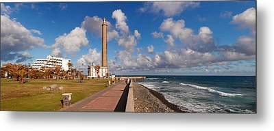 Promenade And Lighthouse At Coast Metal Print by Panoramic Images