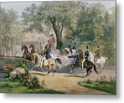 Promenade Au Bois Metal Print by Eugene Charles Francois Guerard