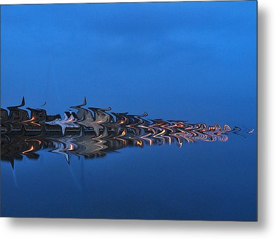 Promenade In Blue  Metal Print by Spikey Mouse Photography