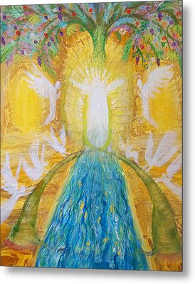 Prophetic Message Sketch 11 Two Trees Become One Tree And River Of Life Metal Print by Anne Cameron Cutri